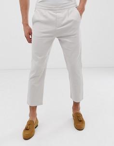 Укороченные брюки с широкими штанинами и поясом на шнурке Only & Sons - Бежевый