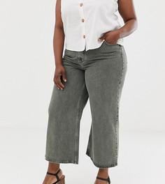 ca4f081a2af Выбеленные джинсы цвета хаки с широкими штанинами ASOS DESIGN Curve premium  - Зеленый