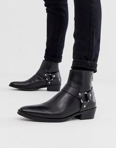 Черные кожаные ботинки челси в стиле вестерн на кубинском каблуке ASOS - Черный