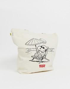 Светло-бежевая пляжная сумка-тоут с принтом Снупи Peanuts от Levis - Кремовый Levis®
