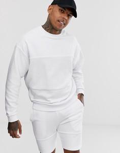 Белый свободный спортивный костюм с худи и шортами со вставками ASOS DESIGN - Белый