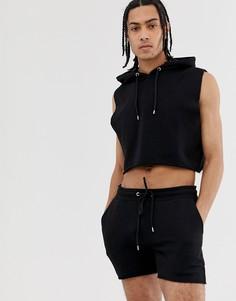 Черный спортивный костюм с худи без рукавов и короткими шортами с необработанными краями ASOS DESIGN - Черный