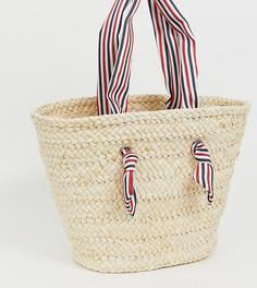 Соломенная пляжная сумка с полосатыми ручками South Beach - Бежевый