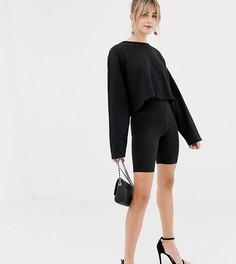 Блестящие леггинсы-шорты New Look - Черный