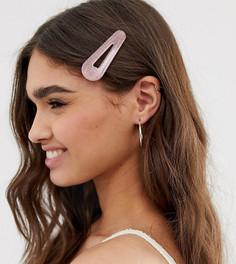 Большая розовая заколка для волос с элементами из резины и блестками DesignB London - Розовый