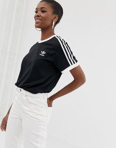 Черная футболка с тремя полосками adidas Originals adicolour - Черный
