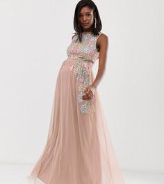 f077f66e5f279d8 Розовое платье макси с вышивкой Maya Maternity - Мульти