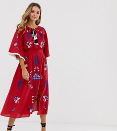 Красное платье миди с вышивкой и кисточками Violet Skye - Красный