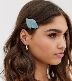 Заколка для волос мятного цвета с элементами из резины и дизайном ракушки DesignB London - Зеленый