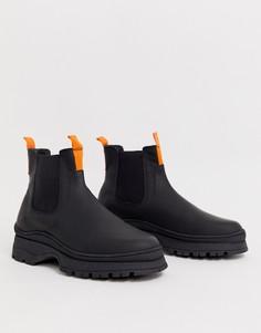 Черные кожаные ботинки челси на массивной подошве ASOS DESIGN - Черный