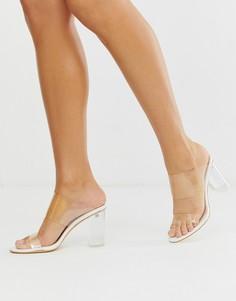 Белые босоножки на прозрачном каблуке с эффектом крокодиловой кожи Simmi London Kimana - Белый