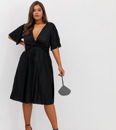Плиссированное платье миди с широкими рукавами ASOS DESIGN Curve - Черный