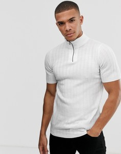 Белая обтягивающая футболка с короткой молнией ASOS DESIGN - Белый