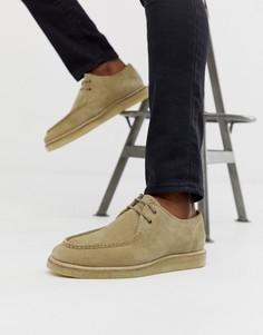 Светло-бежевые замшевые туфли на шнуровке ASOS DESIGN - Светло-бежевый