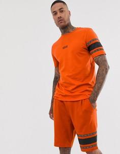 Оранжевая футболка с кантом HUGO Durned SUIT2 - Оранжевый