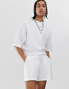 Белый спортивный oversize-костюм с шортами ASOS DESIGN - Белый