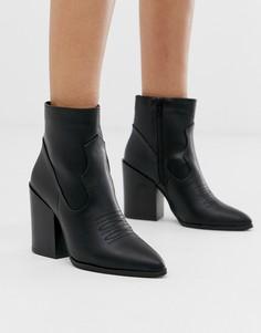 Черные ботинки в стиле вестерн на каблуке Truffle Collection - Черный