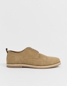 Светло-бежевые замшевые туфли на шнуровке с белой подошвой ASOS DESIGN - Светло-бежевый