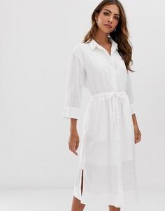 Белое платье-рубашка миди с поясом и разрезами по бокам Esprit - Белый