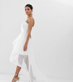 Белое свадебное платье-бандо из органзы со шлейфом Bariano - Белый