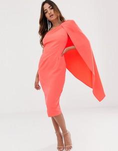 Коралловое платье миди на одно плечо с кейпом Lavish Alice - Оранжевый