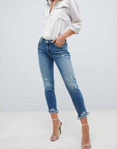 Прямые джинсы с потертостями J Brand Sadey - Синий