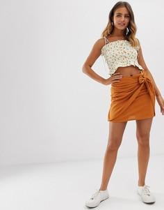 Оранжевая мини-юбка с завязкой сбоку Pimkie - Желтый