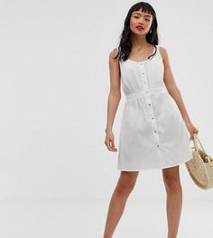 Повседневное платье мини на кнопках спереди ASOS DESIGN Petite - Белый