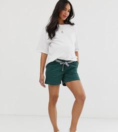Хлопковые шорты для беременных с лентой Mamalicious - Зеленый Mama.Licious