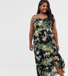 Платье макси на тонких бретельках с пуговицами и тропическим принтом ASOS DESIGN Curve - Мульти