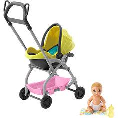 """Игровой набор Barbie """"Скиппер няня"""" Малыш с жёлтой коляской Mattel"""