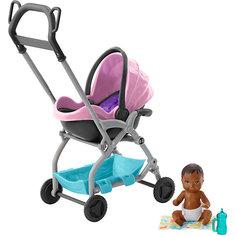 """Игровой набор Barbie """"Скиппер няня"""" Малыш с розовой коляской Mattel"""