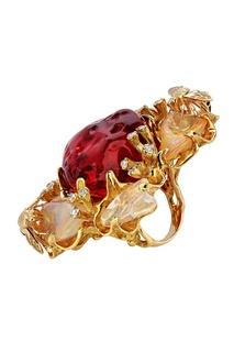 Золотое кольцо с опалами и бриллиантами Кремлевские Мастера
