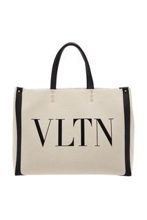 Черно-белая сумка-тоут Valentino Garavani VLTN