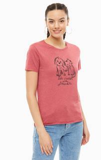Бордовая футболка с необработанными краями Mavi