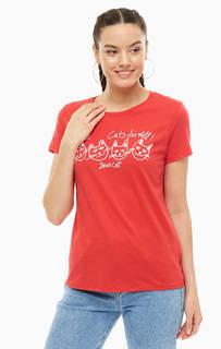 Хлопковая футболка красного цвета с принтом Mavi