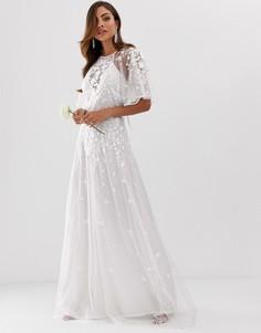 Платье макси из сетчатой ткани добби с цветочной вышивкой и рукавами клеш ASOS EDITION Wedding - Белый
