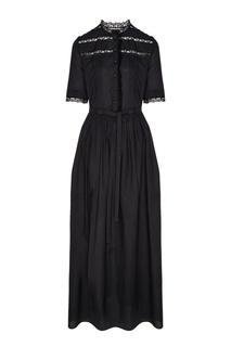 Черное платье макси с разрезом A LA Russe