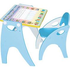 Набор мебели Интехпроект Буквы Цифры парта-мольберт стульчик голубой 14-351