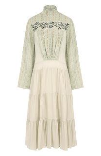 Приталенное платье-миди с оборками и воротником-стойкой Chloé