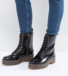 Лакированные байкерские ботинки со шнуровкой Monki - Черный