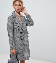 Двубортное пальто в клетку New Look - Черный