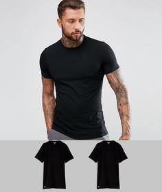 2 узкие черные футболки с круглым вырезом Lacoste - Черный