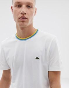 Белая футболка с контрастной отделкой Lacoste - Белый