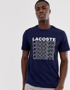 Темно-синяя футболка с логотипом Lacoste - Темно-синий