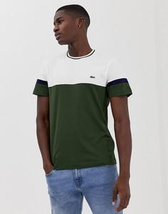 Зеленая футболка в стиле колор блок Lacoste - Зеленый