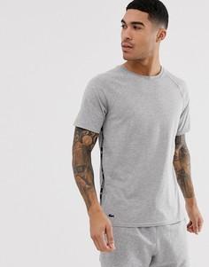 Серая футболка для дома с отделкой кантом Lacoste - Серый