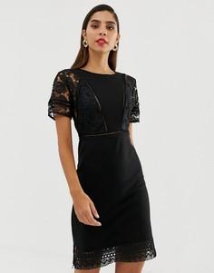 Трикотажное платье с кружевной отделкой French Connection Viola Lula - Черный