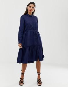 Платье-рубашка миди с ярусной юбкой French Connection - Синий