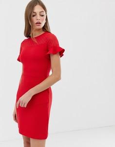 Приталенное платье со свободной юбкой French Connection - Красный